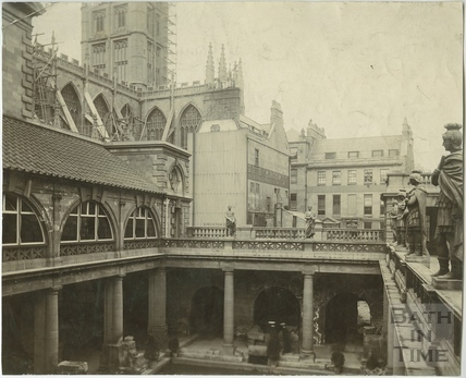 North east view of the Great Roman Bath, Bath c.1909