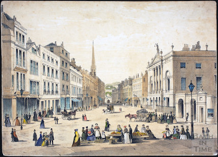 The Guildhall and Market Place, Bath 1844. Coloured