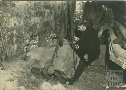 Roman Altar being excavated at Queen's Bath, Bath c.1885