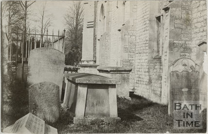 First of five photographs showing churchyard, St. Michael's Church, Twerton, Bath c.1884