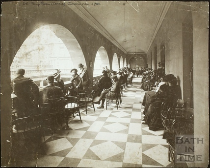 Terrace overlooking Great Bath from the Pump Room, Bath c.1909