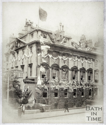 Decorations at the County Club on the occasion of Duke of York's marriage, Queen Square, Bath 1893