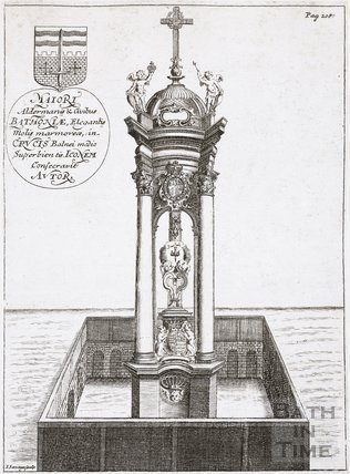 The Melfort Cross in the Cross Bath, Bath. Thermae Britanicae by Thomas Guidot 1691