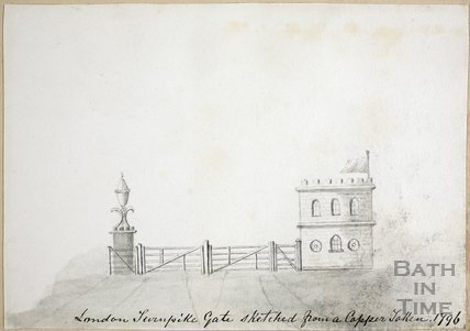 London Road Turnpike Gate sketched from a copper token, Bath 1796