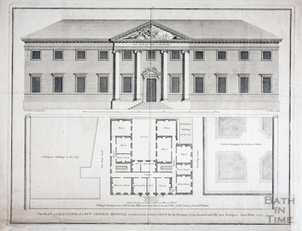 The Plan and Elevation of a new General Hospital intended to be erected at Bath 1737