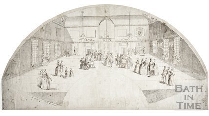 Fan view of the Interior of Mrs. Lovelace's Rooms, Lower Assembly Rooms, Bath 1737