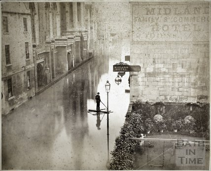 Floods, James Street West and Holy Trinity Church, Bath 1882