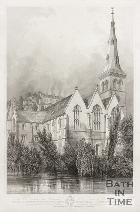 View of St. Matthew's Church now building in the Parishes of Lyncombe and Widcombe, Bath 1847