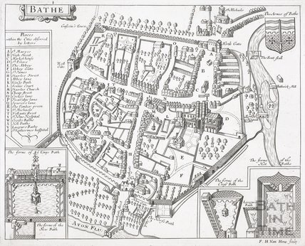 Bath as depicted in John Speed's Map of Somersetshire 1610
