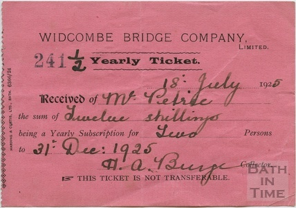 Half yearly ticket for the Widcombe Bridge, 1925