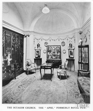 Interior view of the Apse, formerly the Royal Pew of the Octagon Church, Milsom Street, home of Mallett & son c.1920
