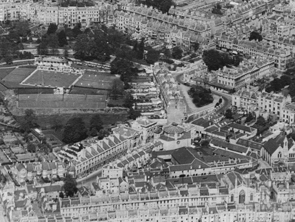 c.1930 Aerial view of Bath with Charlotte Street and the Percy Chapel in the centre