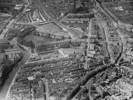 c.1930 Aerial view of Bath looking west over Avon Street towards Green Park station