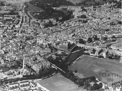 c.1950 Aerial view of the central area of Bath