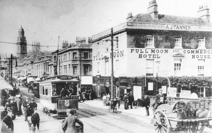 The Full Moon Hotel, Southgate Street and Dorchester Street c.1908
