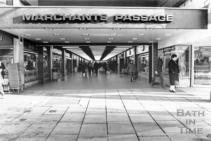 The entrance to Marchant's Passage, Southgate Shopping Centre, January 1990