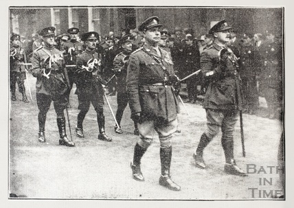 Well-known members of the North Somerset Yeomanry in the funeral procession for Mr M Costello, Nov 1923