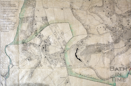 Prior Park and Combe Down from the Plan of the City and Borough of Bath and its suburbs 1852 - detail