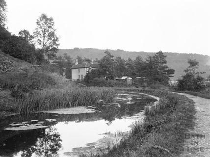 The Somersetshire Coal Canal in Monkton Combe, approaching the Viaduct Inn and Brassknocker Basin c.1900