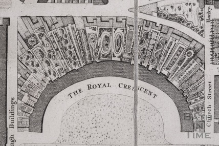 The City of Bath map by Charles Harcourt Masters showing Royal Crescent 1808 - detail