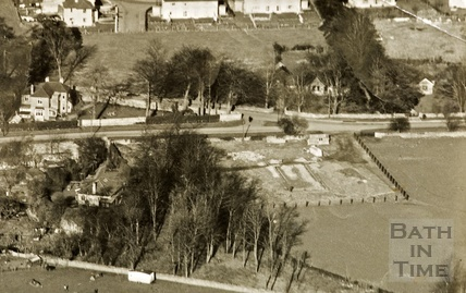 c.1950s Aerial View of the site of the village hall, by Quarry Rock Gardens, Claverton Down, Bath