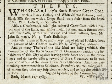 Notification of the theft of a Ladies Beaver Coat from Stall Street 1785