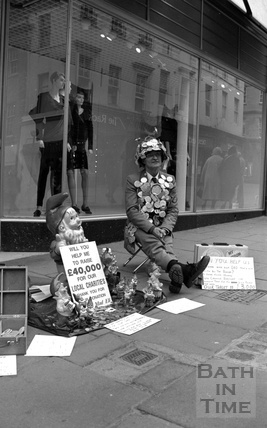 Mad Eli, a familiar face, fundraising on the streets of Bath, July 1989