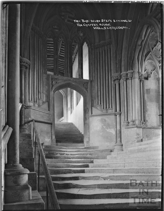 The time worn steps leading to the Chapel House, Wells Cathedral c.1930s
