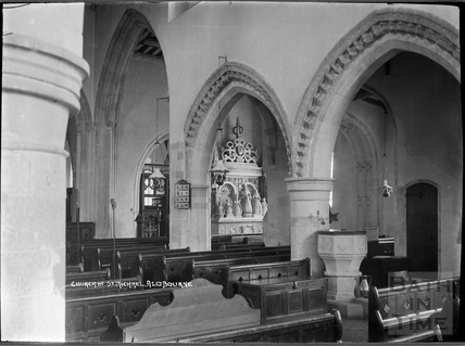 Inside the church of St Michael, Aldbourne near Marlborough, Wilts c.1920s