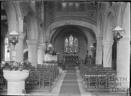 Inside St Michael's Church, Compton Martin, Chew Valley, Somerset c.1930s