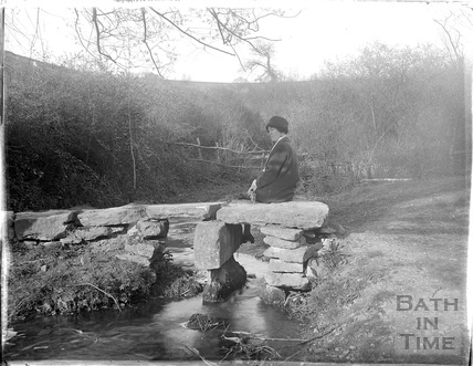 A scene by a river at Avebury, Wiltshire, 1926