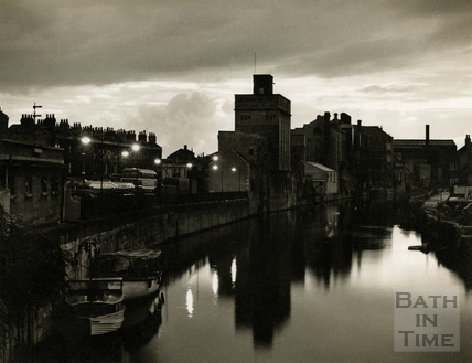 Nightfall, a view of Lower Bristol Road, taken at dusk from the Old Bridge c.1950s