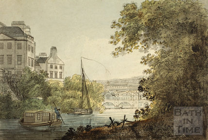 The New Bridge, Bath. And part of South Parade, taken near the ferry., 1788