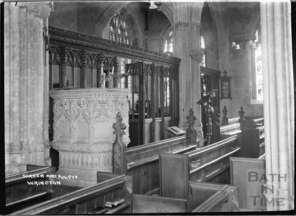 Screen and pulpit, inside All Saint's church, Wrington, North Somerset, June 1935