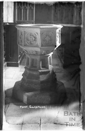 Font, St John the Evangelist church and rectory, Elkstone, Gloucestershire, c.1934