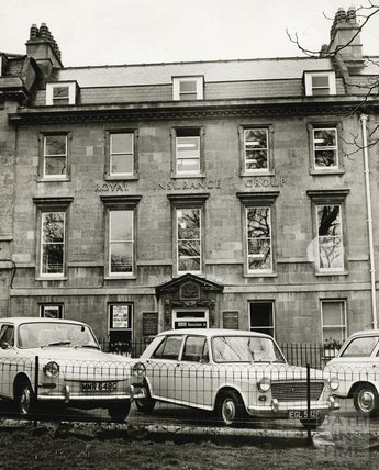 Cars parked outside the east side of Queen Square c.1970s