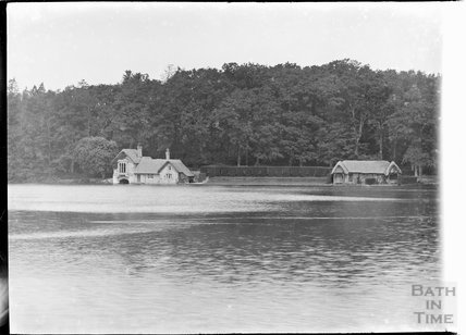 View across the lake at Shearwater, Near Longleat, Wiltshire, c.1930s