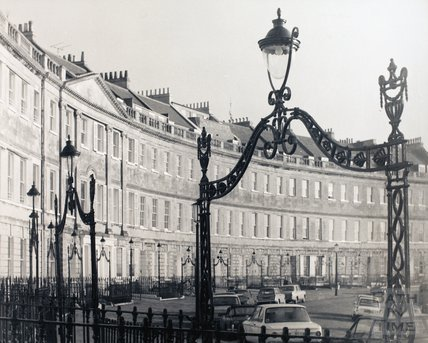 Lansdown Crescent, showing the iron overthrows, pre 1973
