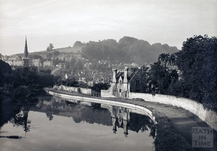 The Kennet and Avon Canal at Widcombe, looking towards St. Matthew's Church, Bath c.1950