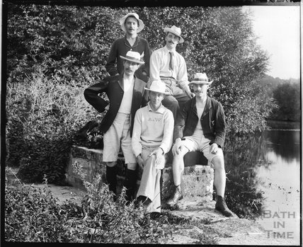 Posing by the river, possibly at Warleigh c.1900