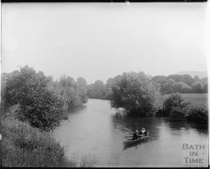 Riverside scene, near Monkton C0mbe c.1900