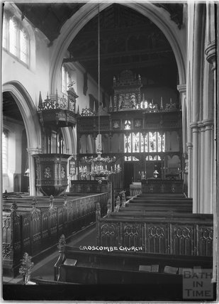 Inside Church of St Mary the Virgin, Croscombe, Somerset c.1930s