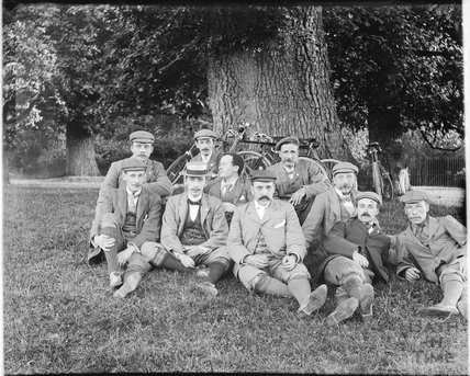 Group portrait on a cycling trip c.1900