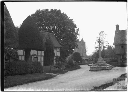 Memorial, timber framed house and church, thought to be Wantage, Oxfordshire, c.1930s