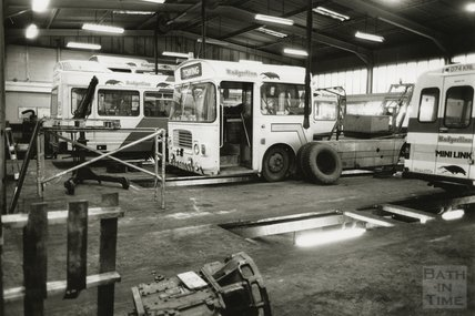 Inside the maintenance shed for the bus depot, London Road, Bath, Feb 1991