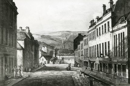 A black and white copy of a watercolour of Grove Street viewed from Spring Gardens Road, c.1800s