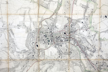 Plan of the City and Borough of Bath and its Suburbs, Cotterell 1852 - detail