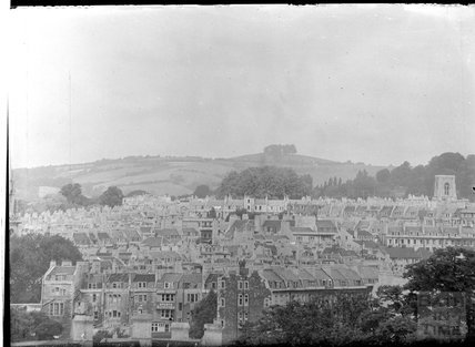 View towards Kelston Round Hill looking over Laura Place, c.1950s