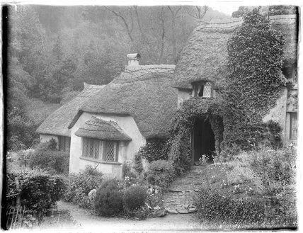 Picturesque thatched cottages, near Minehead, c. 1926-30