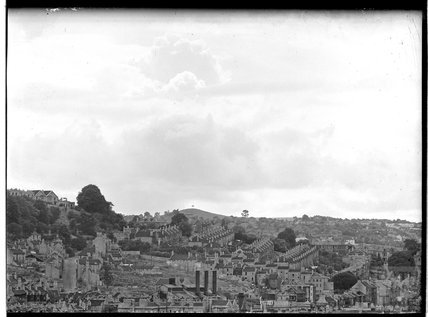 View towards Bath Spa Station and Beechen Cliff from Sydney Buildings, c.1950s
